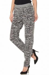 Laura Scott Damen Hose Leoparden-Print Chino Stretch Gr. 32 grau melange 773115