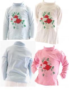 Kinder Mädchen Rollkragenpullover Shirt Langarm Pullover Rosen BFL-HN-02 - Vorschau 1