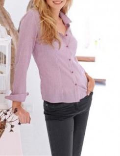Corley Damen Bluse Hemd langarm Shirt Knopfleiste beere weiss 657832