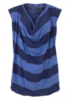 AJC Longshirt Oversize Shirt Wasserfall ausschnitt Top Streifen Blau 664227