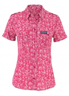 John Baner Damen Bluse Hemd kurzarm Shirt Blumen-Muster pink 918738