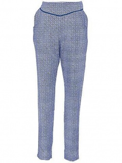 B.C. Damen Druckhose Hose Karottenform Muster Viskose blau ecru Gr. 19 076529