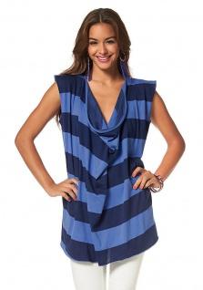 AJC Longshirt Oversize Shirt Wasserfallausschnitt Top Streifen Blau 664227