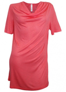 Sheego Damen Longshirt Wasserfall Shirt kurzarm Bluse Tunika koralle 387435