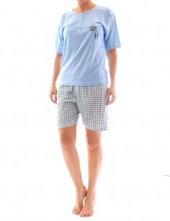 Damen Pyjama Schlafanzug Top Shirt Kurzarm kurze Shorts Motiv Matysio