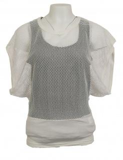 Mandarin Damen Netzshirt Shirt Netz Häkel Lochmuster Top Tunika ecru 033681