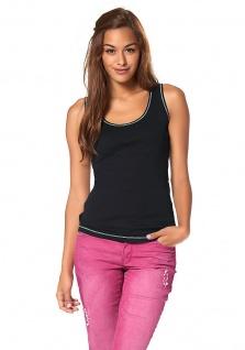 AJC Damen Tanktop Shirt Bluse Tunika T-Shirt Top Tank Baumwolle Schwarz 286864