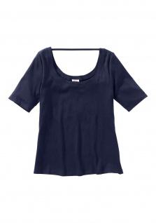 Sheego Damen Shirt Bändchen kurzarm Bluse Tunika T-Shirt marine 170488