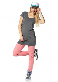 AJC Shirtkleid Minikleid Mini Kleid Stretch Longshirt Shirt Tunika Grau 887841