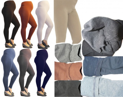 Umstand-Leggings Thermo hose lang Umstandsleggings Baumwolle Fleece innen