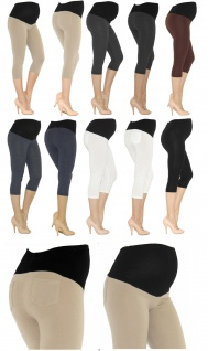 Umstand Capri 3/4 Leggings Baumwolle Umstandsleggings kurze Hose mit Taschen
