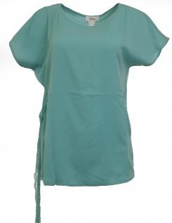 Heine Damen Bluse mit Spitze Bindeband Shirt Tunika kurzarm mint 010323