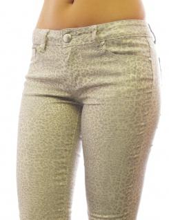 Damen Jeans Hose Hüftbund Skinny HÜFT Röre lang Leopard-Gold Muster H 236
