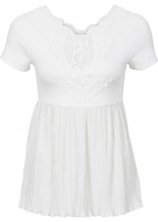 Bodyflirt Damen Shirt mit Spitze Falten Bluse Tunika kurzarm Gr. 32/34 944797