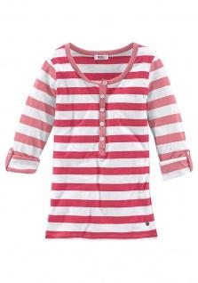 FLG Damen Shirt Pullover langarm Streifen Tunika Knopfleiste Stretch 399274