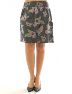 John Baner Damen Jeansrock Rock Mini Blumen Print Skirt grau 919818