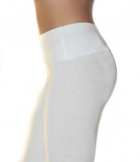 Damen Leggings lang hoher Bund verstärkt Hose blickdicht Baumwolle Leggins - Vorschau 2