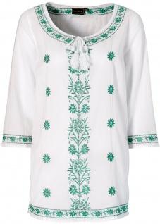 Rainbow Damen Tunika 3/4 Arm Bluse Shirt Verzierung weiss jadegrün 939187