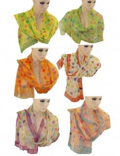 Schal Tuch Punkte Muster Halstuch Rundschal Polyester 1, 7m lang Umhängetuch