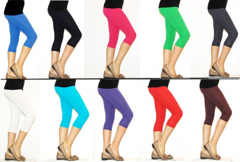 Kinder Mädchen Hose Leggings Leggins Capri 3/4 kurz Knie blickdicht Baumwolle