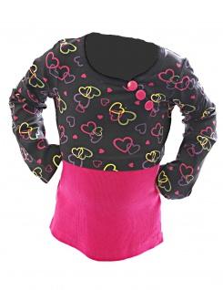 Kinder Mädchen Shirt Langarm Pullover Pulli Tunika Herz Muster Knopfleiste Girl