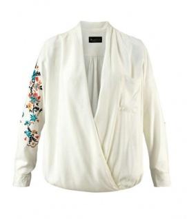 Laura Scott Bluse Wickeloptik Stickerei Tunika Shirt langarm wollweiß 856100