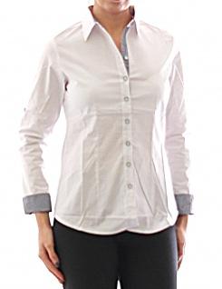 Damen Bluse Hemd Langarm Shirt Tunika Business Weiß Baumwolle 349
