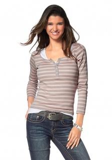 FLG Damen T-Shirt Langarm Pullover Baumwolle Streifen 454927