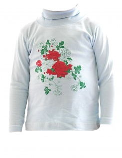 Kinder Mädchen Rollkragen Shirt Langarm Pullover Rosen BFL-HN-02 Blau