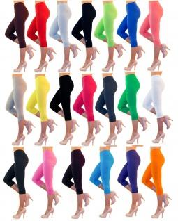 Damen 3/4 Capri Leggings Baumwolle hoher Bund ohne oder mit Taschen Hose kurz