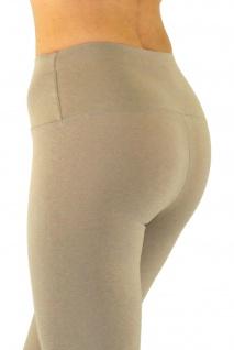 Damen Leggings lang hoher Bund verstärkt Hose blickdicht Baumwolle Leggins - Vorschau 3