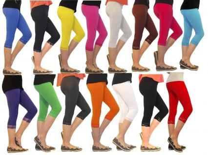 Mädchen Kinder Leggings Leggins Hose Capri 3/4 kurz mit Spitze Baumwolle