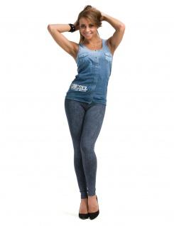 Leggings lang hoher Bund Hose Leggins gekämmte Baumwolle Muster-4-Jeans-Blau