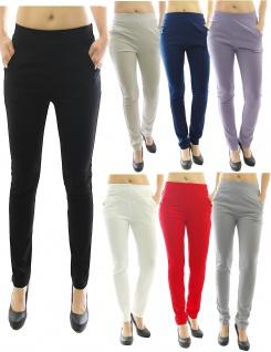 Elegante Hose lang Stretch Stretchhose Stoffhose Taschen Röhre Schlupfhose