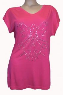 Chillytime Shirt Longshirt Bluse T-Shirt Tunika Top Nieten V-Neck Pink 266691