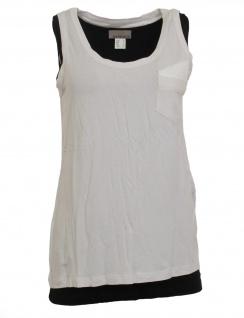 Mandarin Damen 2-in-1 Tops Shirt ärmellos Brusttasche weiß schwarz Gr 38 020971