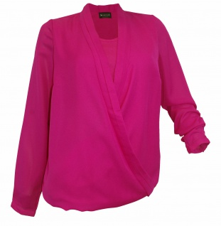 Laura Scott Damen Bluse Wickeloptik Shirt Tunika langarm fuchsia 577790