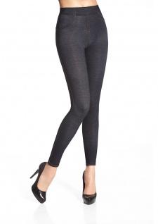 Fashion Leggings Leggins lang Denim Jeans-Optik Hose Jeggings 200den Blanka
