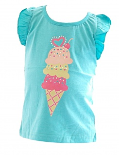 Kinder Mädchen Shirt Ärmellos bedruckt T-Shirt Bluse Top Tunika YG Icecream - Vorschau 2