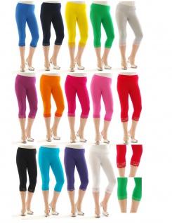 3/4 Leggings Capri mit Spitze kurz Baumwolle viele Farben Yoga Sport