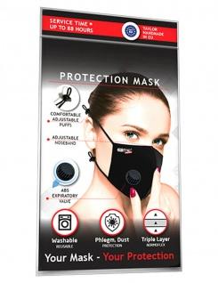 Maske Mund Nase Abdeckung Staubmaske Ventil Waschbar schwarz MT-0201