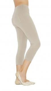 Capri 3/4 Damen Leggings Leggins Baumwolle Hose hoher Bund mit Taschen - Vorschau 3
