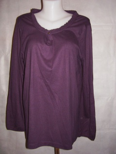 Damen Rüschenshirt Shirt langarm Pullover Bluse Tunika lila 716052