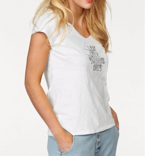 Sandwich Damen T-Shirt bedruckt kurzarm Bluse Top Tunika weiss 375739