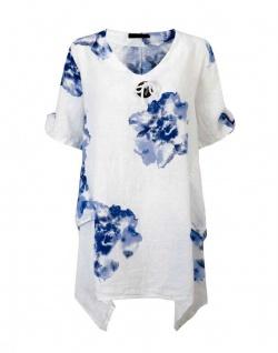 Joe Browns Damen Leinentunika Tunika Bluse Leinen Shirt Kurzarm Taschen 096091