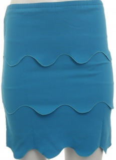 Damen Rock Wellenoptik Knielang Skirt blau Gr. 32 34 36 38 316653