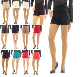 Shorts hoher Bund mit Taschen seitlich Taille kurze Hose Hot Pants Mini - Vorschau 1