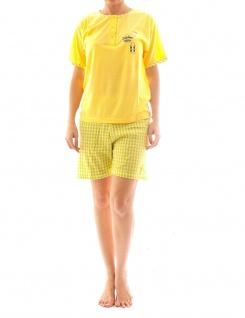 Damen Pyjama Schlafanzug Top Shirt Kurzarm kurze Shorts Motiv Matysio gelb S