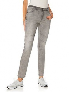 B.C. Damen Boyfriend Jeans Hose Karottenform Chino Stretch grau denim 135163
