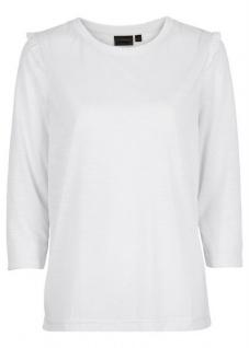 Rainbow Damen Shirt Rüschen 3/4 Arm Transparent Bluse Tunika wollweiss 951417